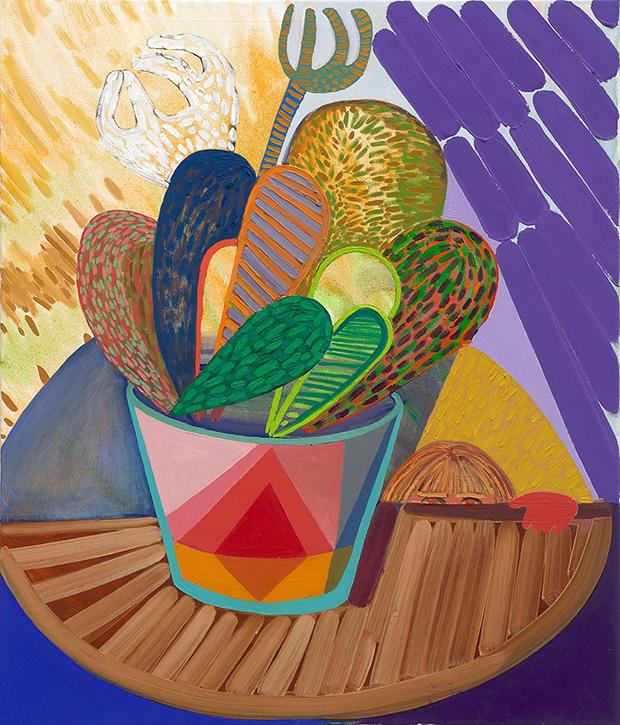 Karla Wozniak, Strange Arrangement 5, 2017. Oil on canvas. 35 x 30 Inches. Courtesy of Gregory Lind Gallery